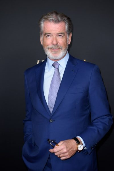 Pierce Brosnan arrives at the HFPA and The Hollywood Reporter's celebration of the 2020 Golden Globe® Awards Season and the Unveiling of the Golden Globe Ambassador. (HFPA Photographer)