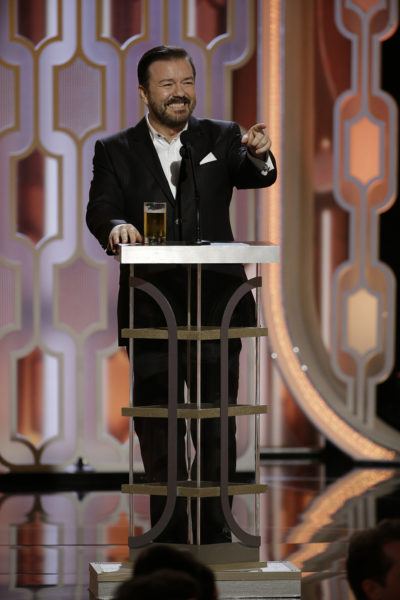 Ricky Gervais will resume hosting duties for a record fifth time at the 77th Annual Golden Globe Awards airing live on NBC coast to coast. Ricky Gervais at the 73rd Annual Golden Globe Awards. (Photo by: Paul Drinkwater/NBC)