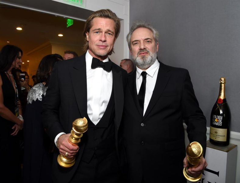 Moët & Chandon at the 77th Golden Globes: Prad Pitt und Sam Mendes. (Foto Moët & Chandon)