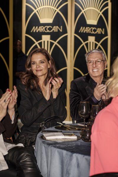 Helmut Schlotterer, Gründer undInhaber von Marc Cain, konnte Schauspielerin Katie Holmes schon zum zweiten Mal in Berlin begrüßen. (Foto Marc Cain)