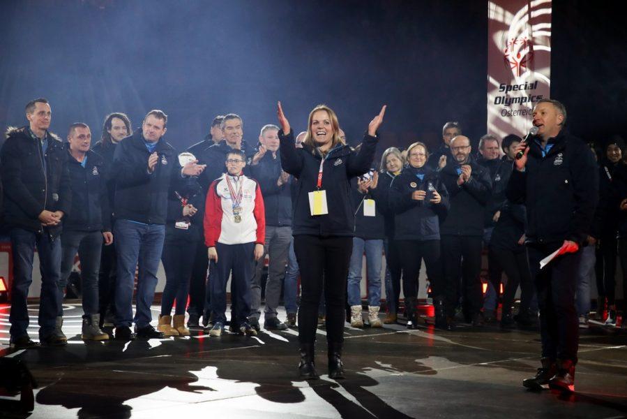 SPECIAL OLYMPICS - National Winter Games 2020: Birgit Morelli, GF Verein Herzschlag – Kärnten, und ihr Team bei der Schlussfeier in der Stadthalle Villach. (Photo GEPA pictures/ Christian Walgram)