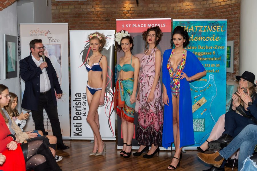 Networking Event mit den Models Alida Tolmaier, Tamara Sadnikar, Jasmin Redl und Jennifer Marinkovic mit Modelmanager Dominik Wachta. (Foto Albert Stern)