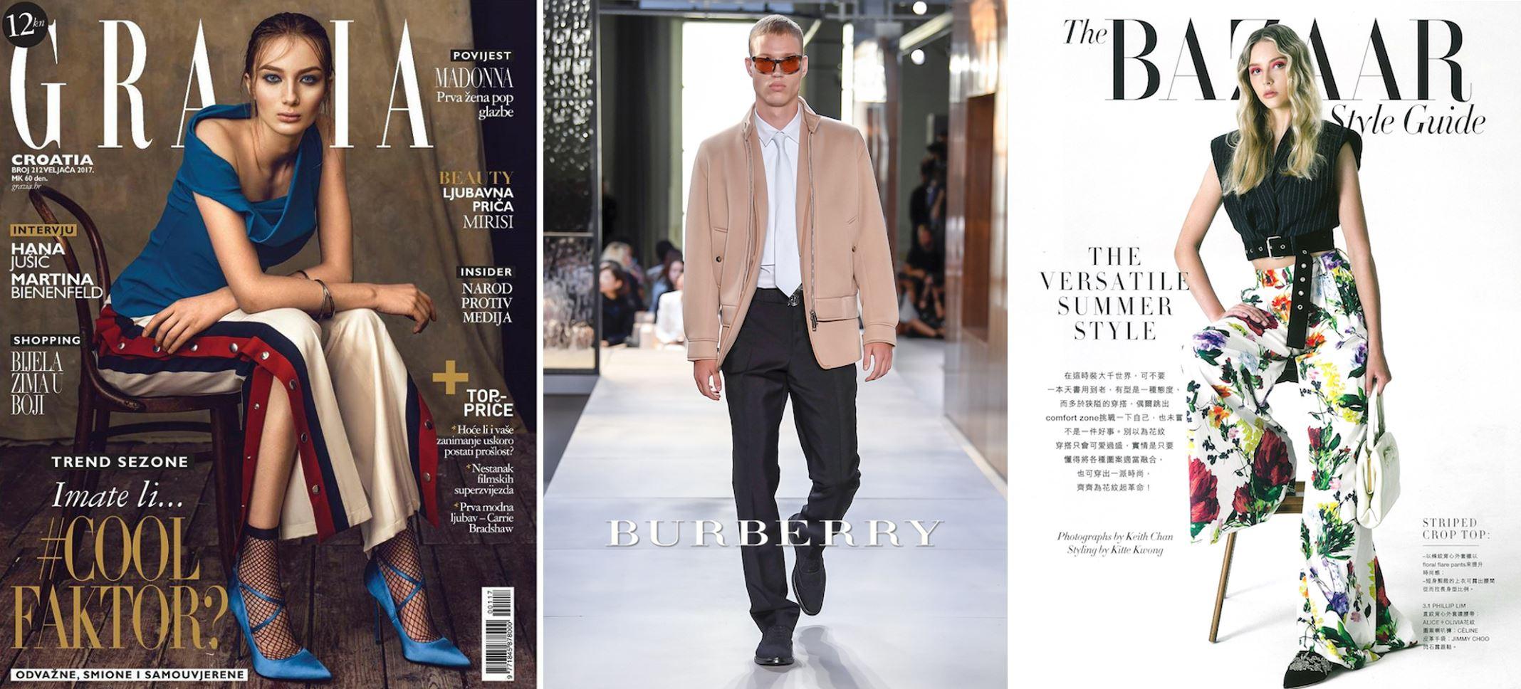Models Gordana am Cover von Grazia Magazine, Michael Oder am Laufsteg für Burberry und Saffron Reeve am Cover von Harpers Bazaar. (Foto ADDICTED TO MODELS)