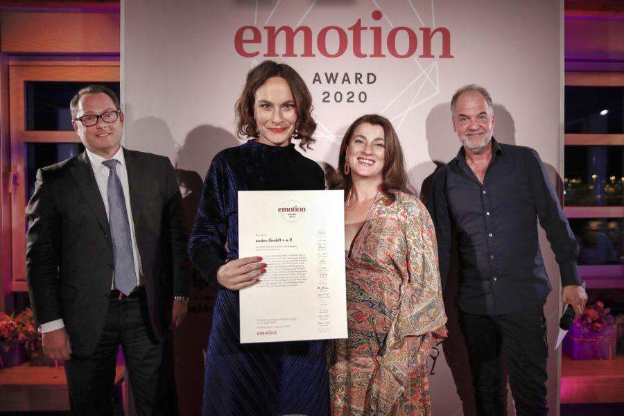 EMOTION.award 2020: Eric Bussert, Jessica Louis, Nuersen Kaya und Marek Ehrhardt. (Photo by Franziska Krug/Getty Images for Emotion Award)