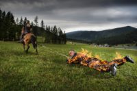 Josef Tödtling - Longest distance pulled by a horse - full body burn; Guinness World Records 2016. (Photo Richard Bradbury/Guinness World Records)