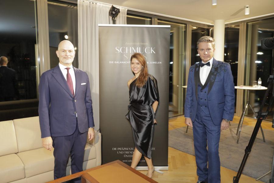 Die Vergabe der Awards übernahm Star-Moderator Alfons Haider gemeinsam mit Schmuckstars-Marketerin Katharina Zagata, hier im Bild mit Christian Lerner. (Foto Stefan Diesner)