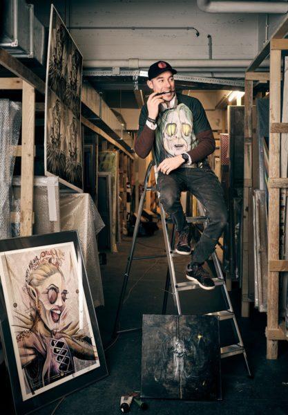 """Tom Lohner arbeitete vier Jahre bei CC-Lab in London. """"Da gestaltete ich u.a. das Bühnendesign für Lady Gaga, habe für Pink Floyd Storyboards gezeichnet und für Maroon 5 die komplette Tour entworfen"""", erzählt er stolz. (Foto Bakerhouse Gallery)"""