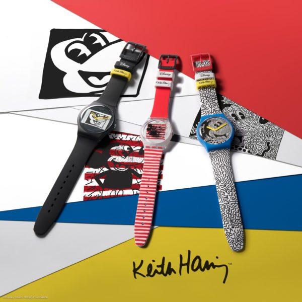 Swatch-Kooperation mit Disney und dem Keith Haring Studio: Mickey Blanc sur Noir, Mouse Mariniere und Eclectic Michey. (Foto Swatch)