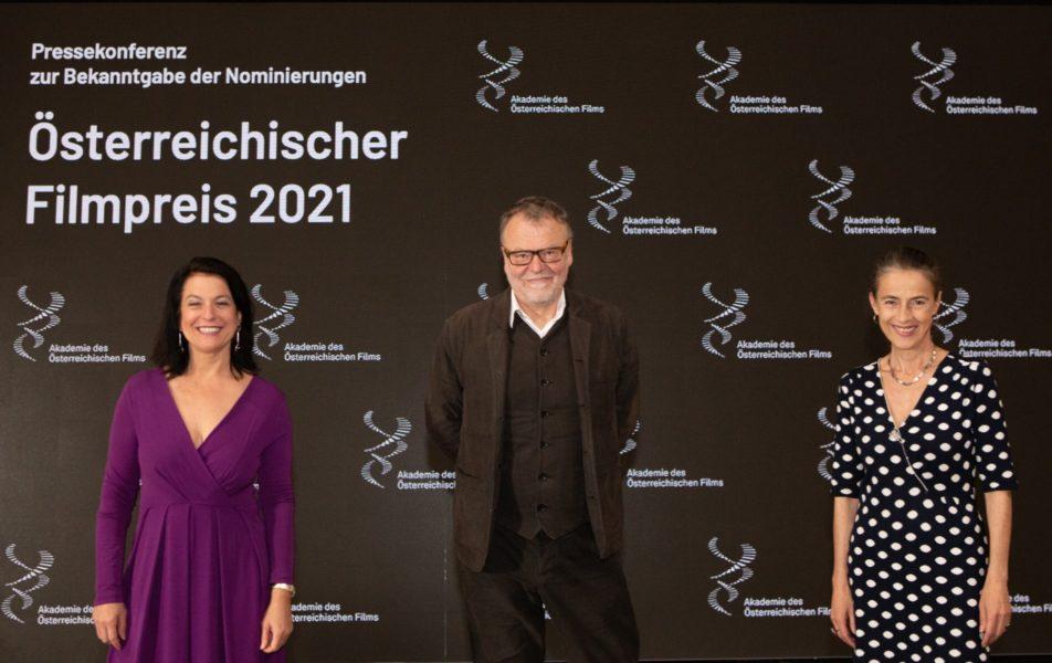 Österreichischer Filmpreis 2021, Pressekonferenz: Katharina Albrecht-Stadler - Geschäftsführerin der Akademie des Österreichischen Films, Stefan Ruzowitzky - Präsident der Akademie des Österreichischen Films und Obfrau Mercedes Echerer. (Foto AOEF)