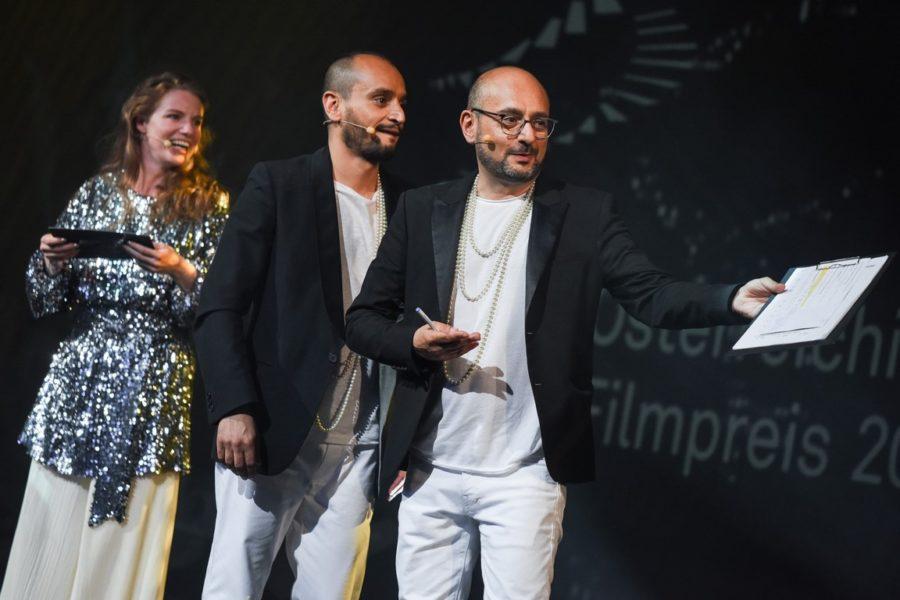 Filmpris 2021: Arash T. Riahi, Arman T. Riahi und Michaela Schausberger (Foto eSeL.at - Lorenz Seidler)
