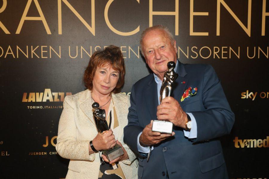 """Die beiden Platin-Preisträger Elfie Donnelly und Rudolf """"Purzl"""" Klingohr. (Foto KURIER / Romar Ferry)"""