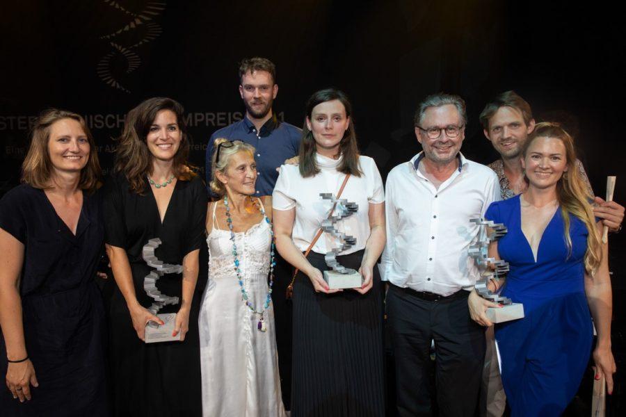 Filmpreis 2021: Preisträger The Trouble With Being Born mit Alexander Wrabetz und Kathrin Zechner. (Foto eSeL.at - Lorenz Seidler)