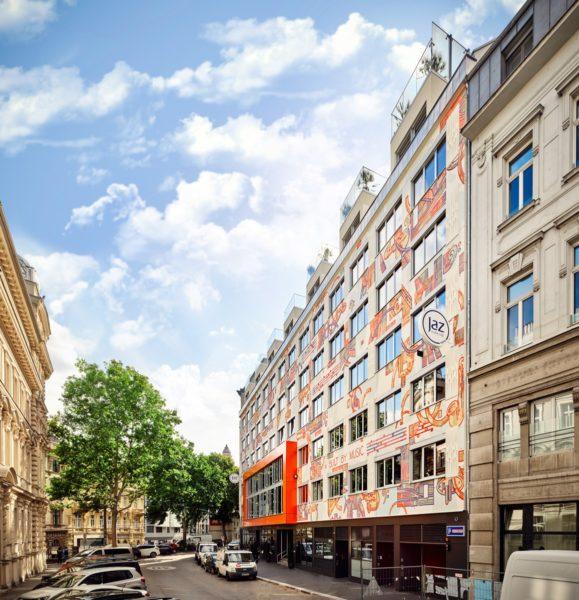 Das neue Hotel 'Jaz in the City Vienna' in der Windmühlgasse, zwischen Mariahilferstrasse und dem Naschmarkt. (Foto Jaz in the City)