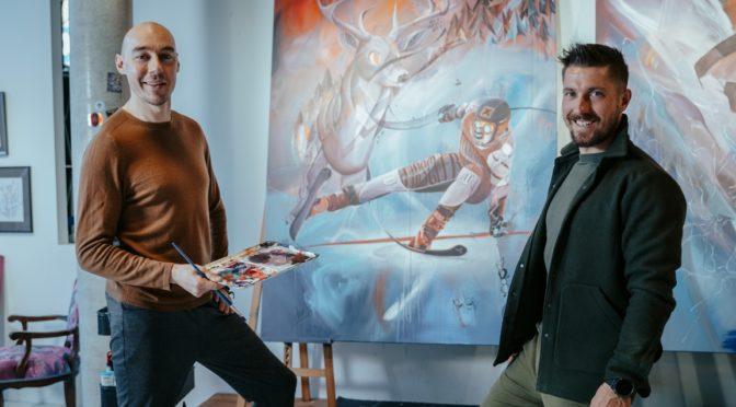 Marcel Hirscher und Tom Lohner präsentieren gemeinsames Kunstwerk